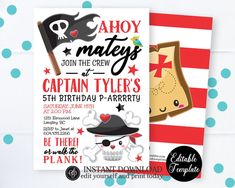 Pirate Birthday Invitation, Pirate Party, Pirate Theme Party, Pirate Invitation, Printable, EDITABLE TEMPLATE, SP0045