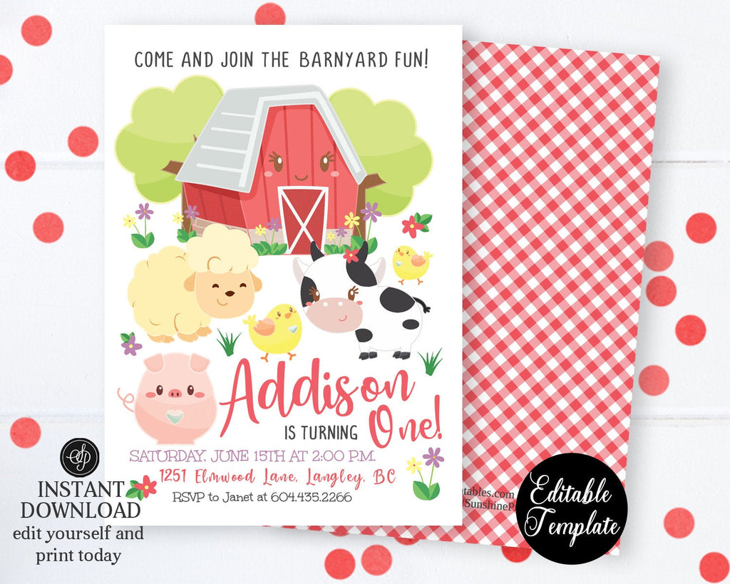 Farm Animals 1st Birthday Invite with Photo, Farm 1st Birthday Invitation, Printable, Farm Animals, Barnyard Fun, EDITABLE TEMPLATE, SP0050