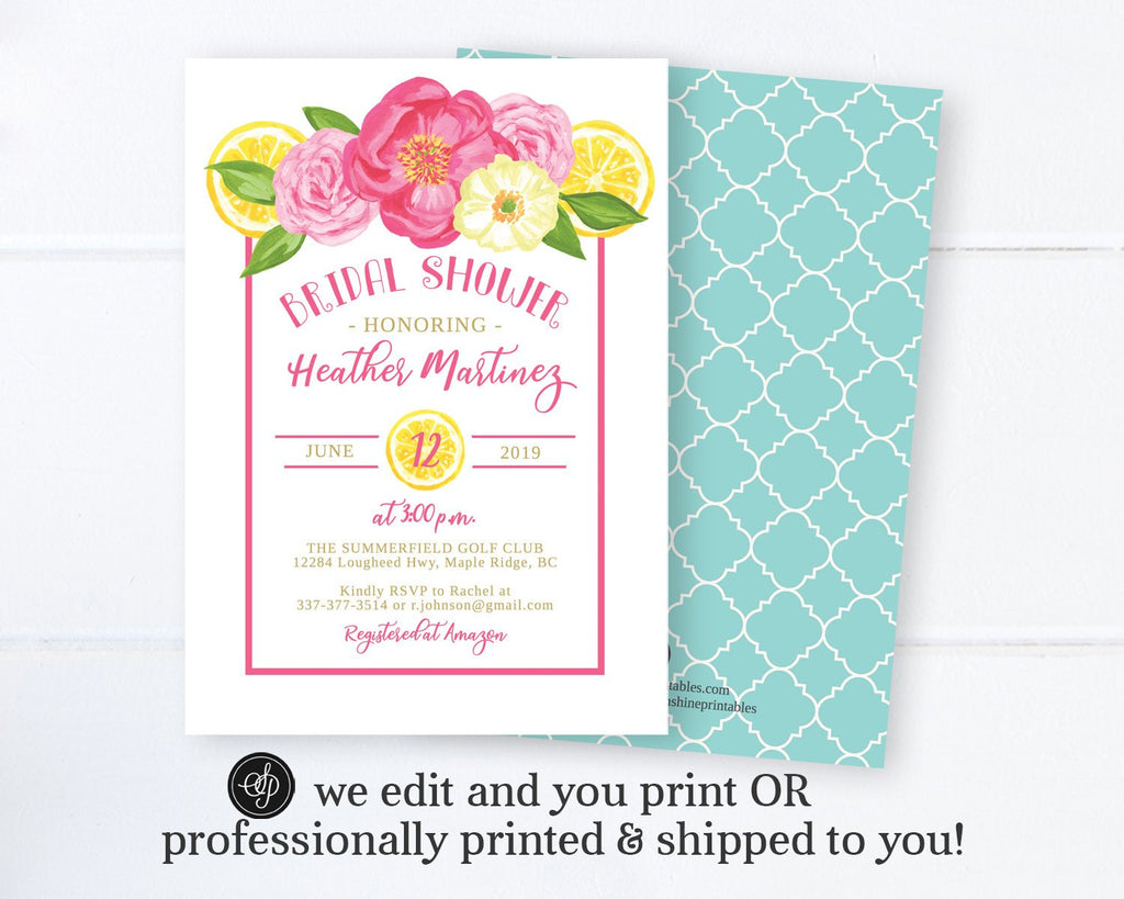 Pink Flowers and Lemon Bridal Shower Invitation, Printed Invitations or Printable Digital File, Lemon Theme Floral Bridal Shower Invite