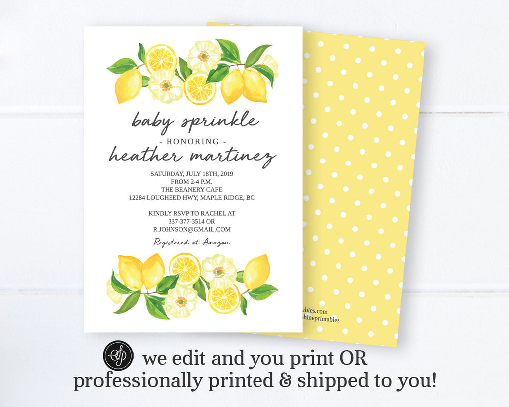 Gender Neutral Baby Shower Invitation Lemon Theme, Lemon Baby Shower Invite, Citrus & Floral, Printable Digital or Printed Invitations