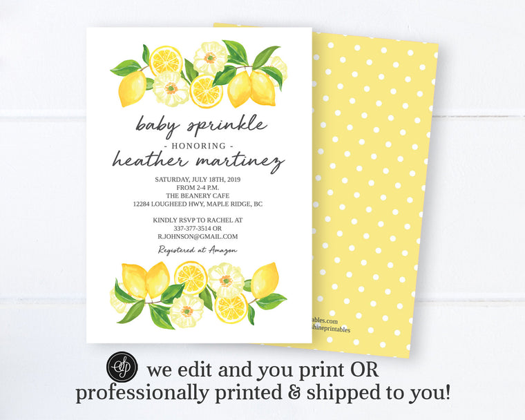 Lemon Baby Sprinkle Invitation, Gender Neutral Baby Sprinkle Invite, Tuscan Lemon Baby Shower, Printable or Printed Invitations
