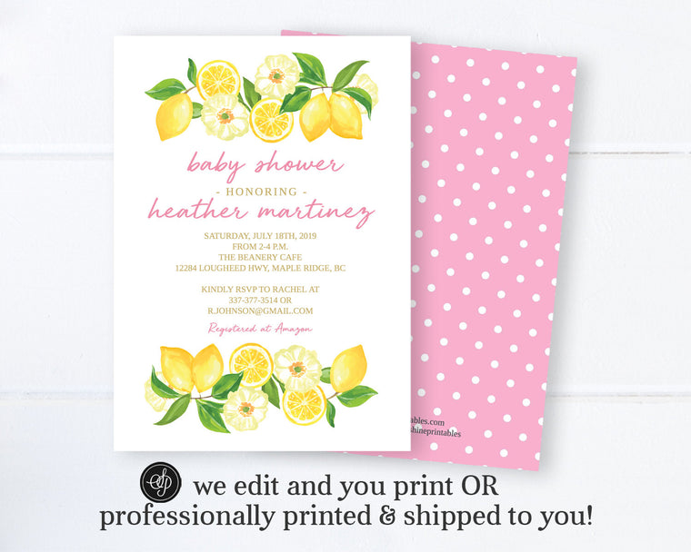 Pink & Lemon Baby Shower Invitation Girl, Citrus Lemon and Floral Baby Girl Shower Invite, Printable Digital or Printed Invitations