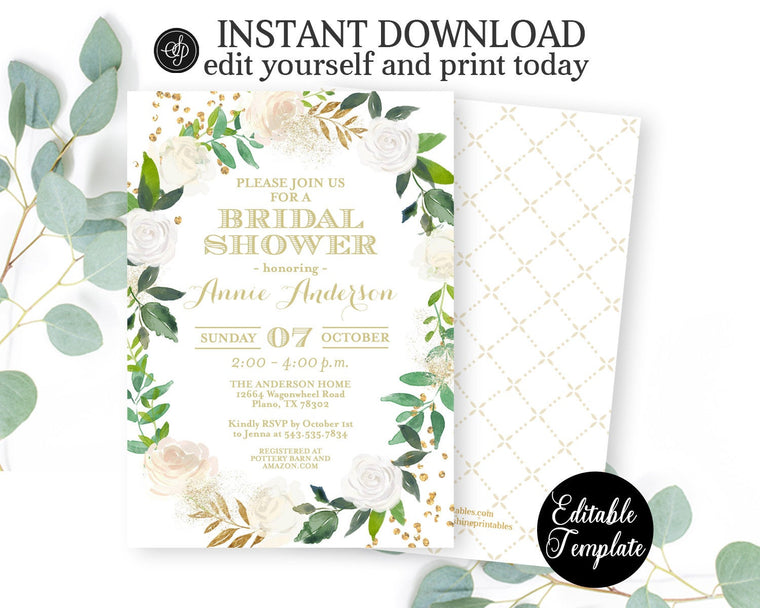 PRINTABLE White Floral Roses and Gold Greenery Bridal Shower Invitation, Floral Bridal Shower Invite Template, EDITABLE TEMPLATE, SP0038