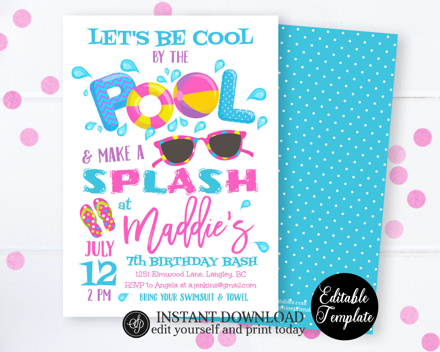 Pool Party Invitation Swimming Birthday Cool By The Instant Download SP0039