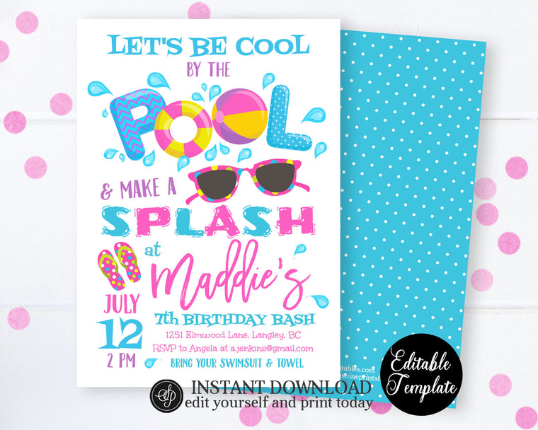 Pool Party Invitation, Swimming Birthday Party, Pool Birthday Party Invitation, Pool Party, Cool by the Pool, Instant Download SP0039