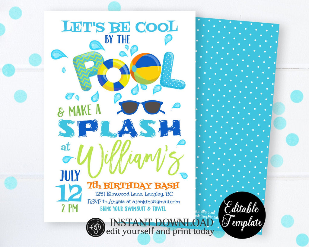 Swimming Birthday Party Invite, Cool by the Pool Birthday Party Invitation, Pool Party Invitation, Summer Party, Instant Download SP0039