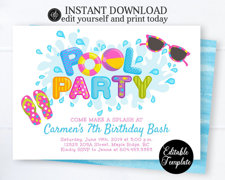 Pool Party Invitation Girl, Swimming Birthday Party Invitation, Printable Summer Party Invite, Instant Download SP0039