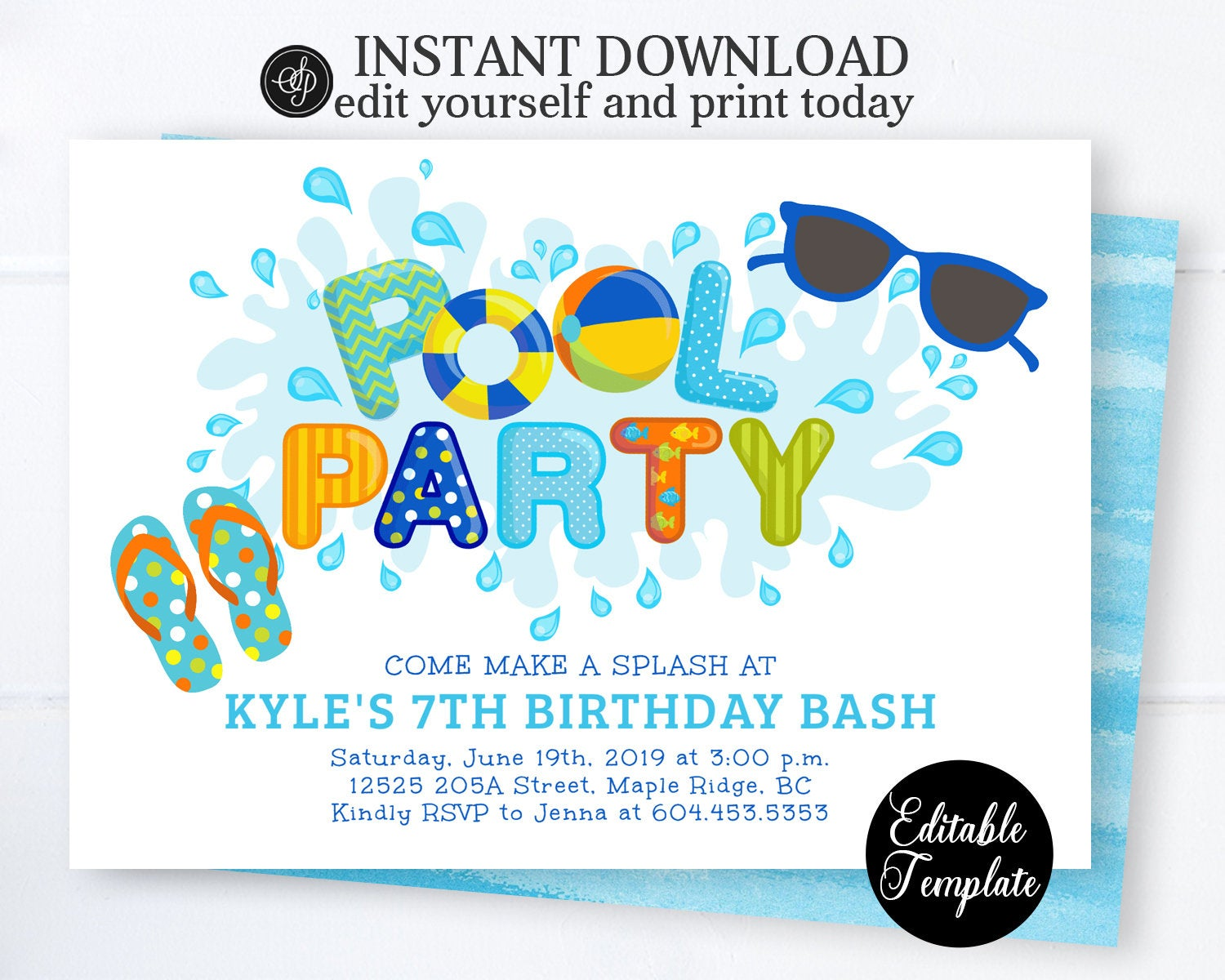Pool Party Invitation Boy Swimming Birthday Printable Summer Invite Instant Download SP0039