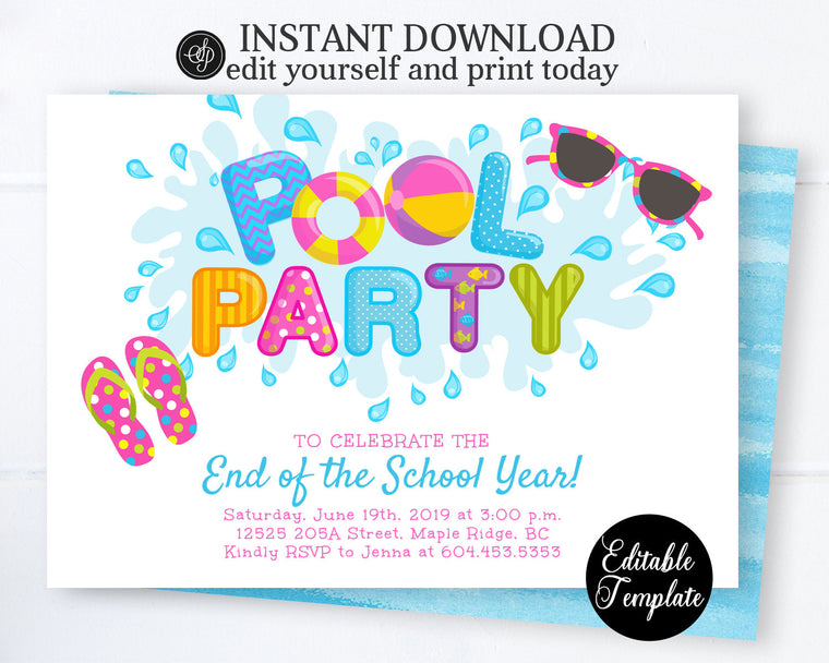 Pool Party Invitation, End of School Summer Pool Party Invite, Pool Invitation, Editable Invitation, Templett, Instant Access SP0039