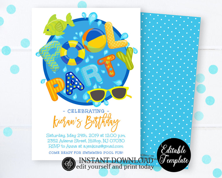 Printable Pool Party Invitation, Swimming Pool Birthday Party, Boy Pool Party, Swimming Birthday, Summer Swimming Party, SP0039