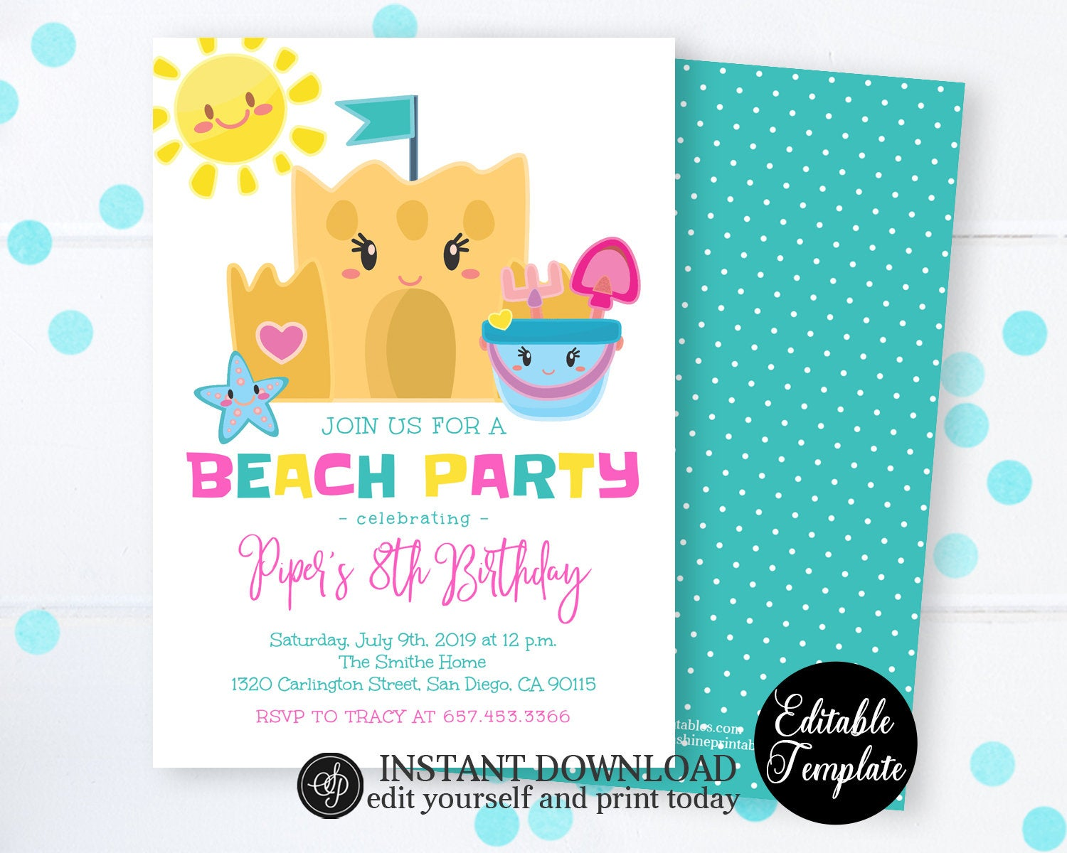 Summer Beach Birthday Invitation Party Printable Invite Instant Download SP0040