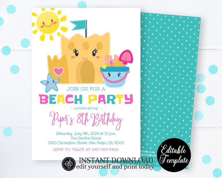 Summer Beach Birthday Invitation, Beach Party Invitation, Printable Summer Party Invite, Instant Download SP0040