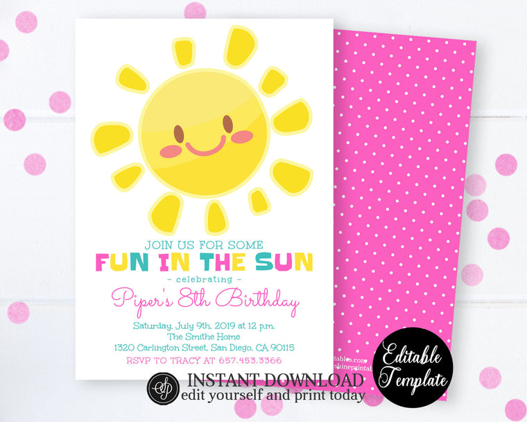 Fun in the Sun Birthday Invitation, Sunshine Birthday Invitation for Girl, Summer Party Invitation, School Year End, Instant Access SP0040