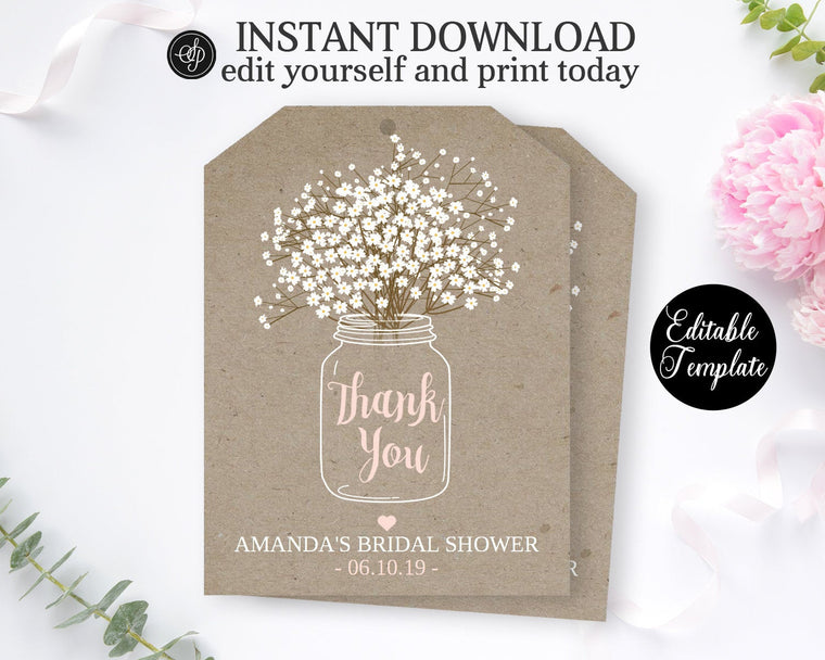 Kraft Bridal Shower Favor Tag, Printable File, Editable Template, Templett Bridal Shower Favor Tag SP0012