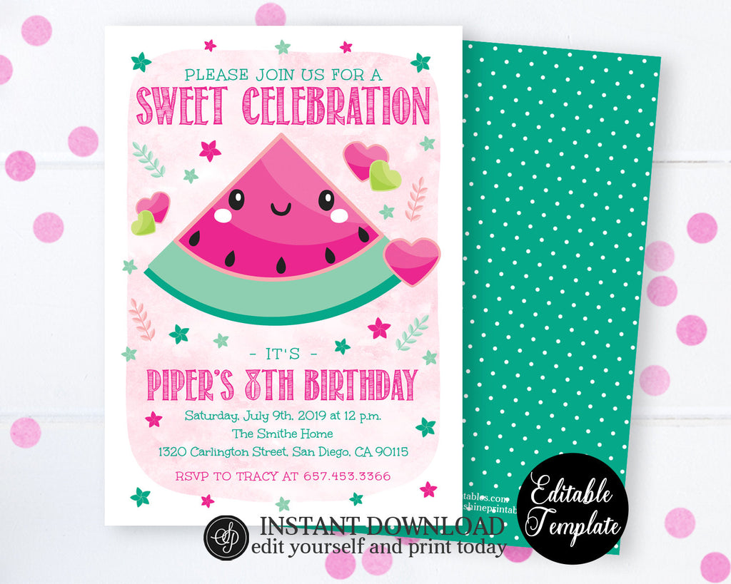 Sweet Celebration Watermelon Birthday Invitation, Summer Birthday Party Invite, Printable Invitation, EDITABLE TEMPLATE, SP0043