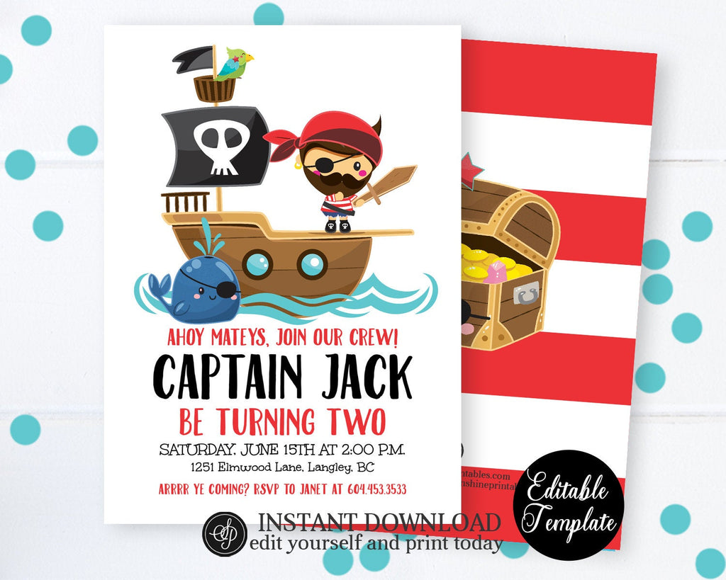 Pirate Birthday invitation, DIY Pirate Party Invitation, Ahoy Matey, Printable Invitation, Pirate Invitation, EDITABLE TEMPLATE, SP0045