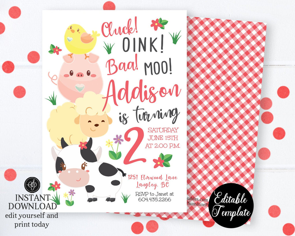 Farm Invitation, Farm Birthday Invitation, Printable Invitation, Farm Animals, Birthday Invitation, Barnyard Bash, EDITABLE TEMPLATE, SP0050