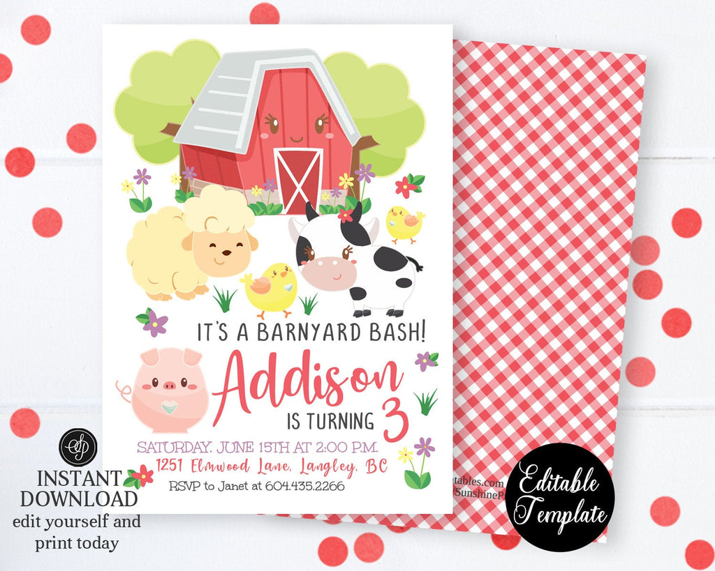 Barnyard Bash Birthday Invitation, Farm Invitation, Printable Invitation, Farm Animals, Farm Birthday Invitation, EDITABLE TEMPLATE, SP0050