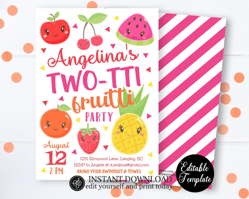 Two-tti Fruitti 2nd Birthday Invitation with Photo, Tutti-frutti Invitation, Tutti-frutti Party, Fruits Invitation, EDITABLE, SP0051