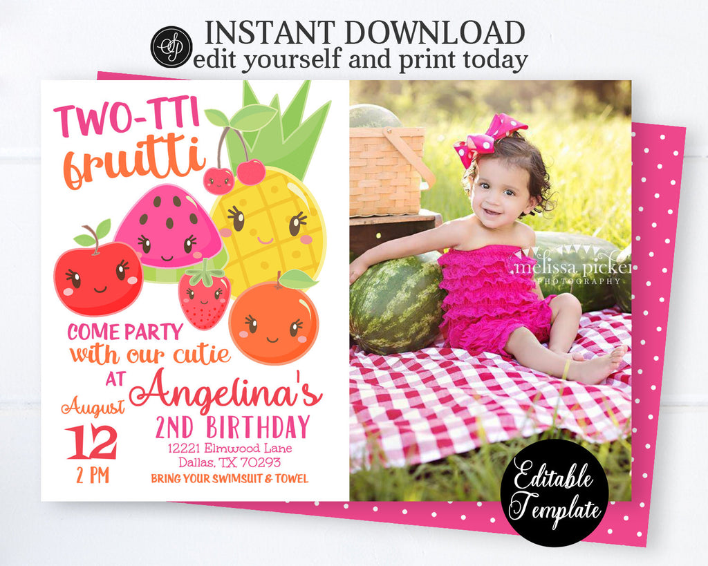 EDITABLE Two-tti Fruitti 2nd Birthday Invitation with PHOTO, Tutti-frutti Birthday Invite, Tutti-frutti Party, Fruits Invitation, SP0051