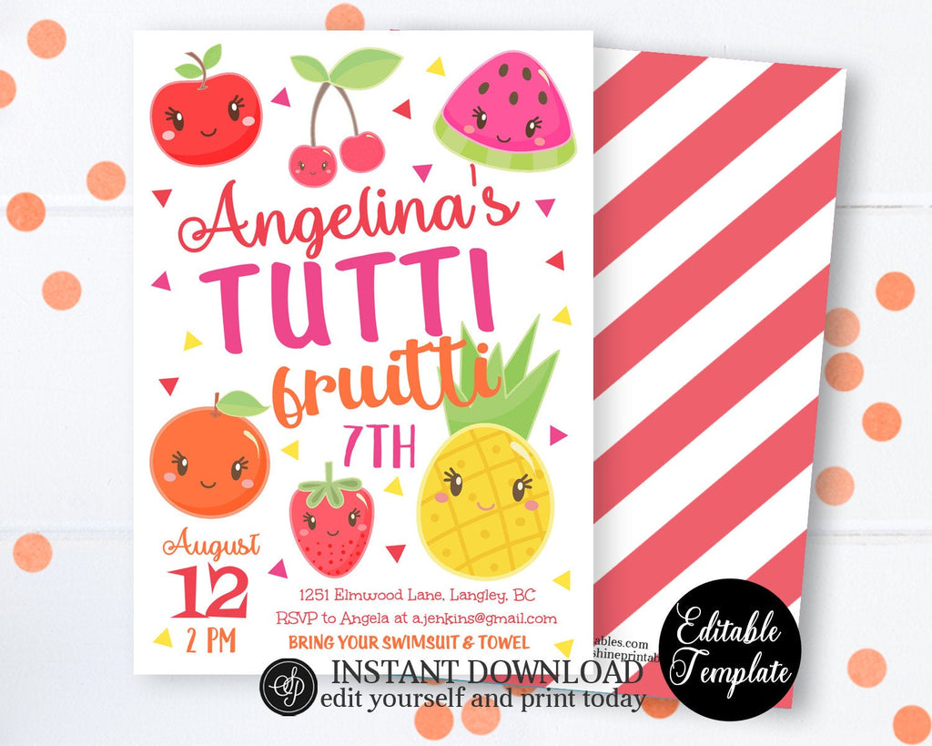 PRINTABLE Tutti Frutti Birthday Invitation, Tutti Frutti Party Invitation, Fruit Theme Birthday Invitation, Fruity Party, EDITABLE SP0051