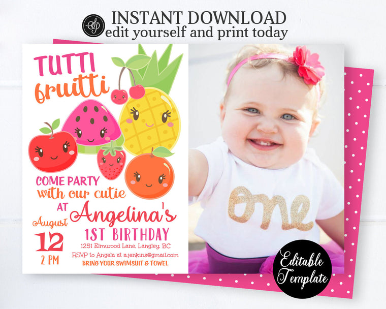 PRINTABLE 1st Birthday Invitation with PHOTO, Tutti-frutti First Birthday Invitation, Tutti-frutti Party, Fruits Invitation, EDITABLE SP0051