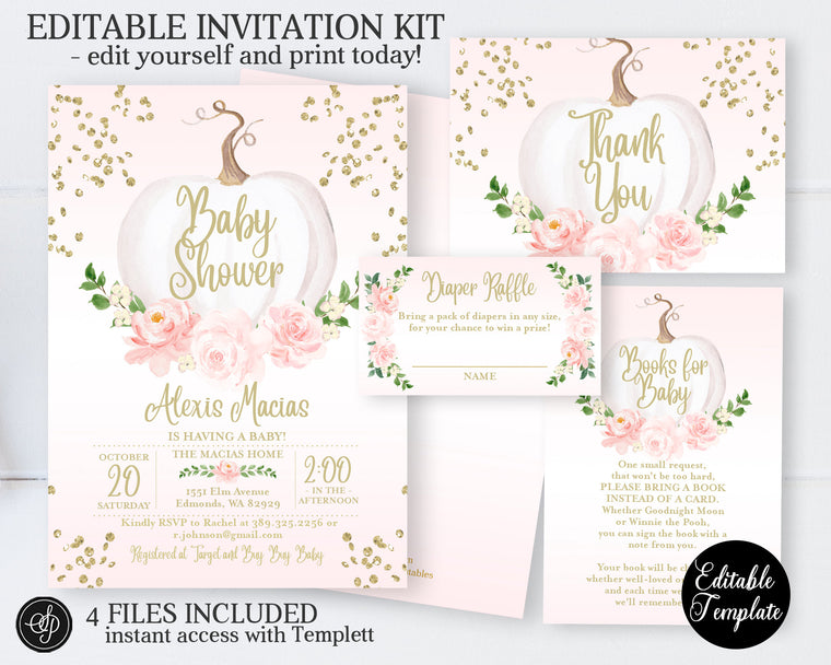 Girl Pumpkin Invitation KIT, Pink Floral White Pumpkin Baby Girl Shower Invitation Bundle, EDITABLE INVITATION, Printable, SP0056B