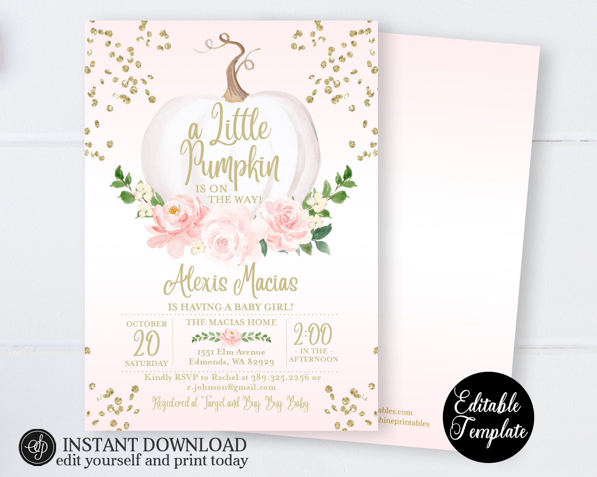 photograph relating to Baby Shower Printable Invitations named Minimal Pumpkin Boy or girl Lady Shower Invitation, Purple Floral White Pumpkin Lady Little one Shower Invite, Printable Invitation, Templett, SP0056B