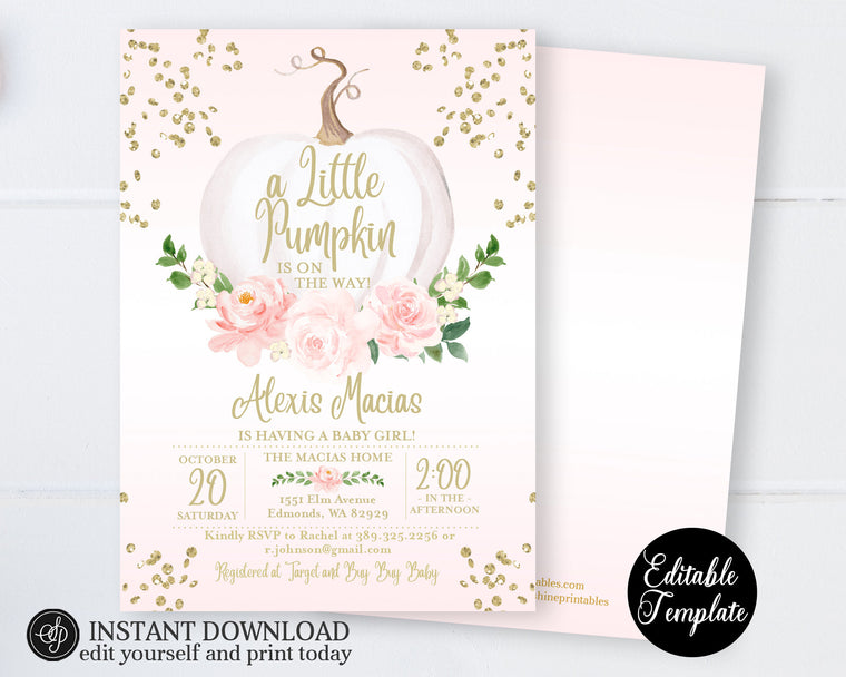 Little Pumpkin Baby Girl Shower Invitation, Pink Floral White Pumpkin Girl Baby Shower Invite, Printable Invitation, Templett, SP0056B