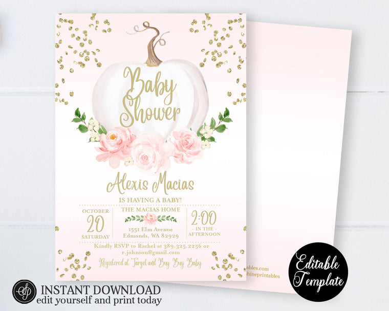 EDITABLE Fall Baby Girl Shower Invitation, Pink Floral White Pumpkin Girl Baby Shower Invite, Printable Invitation, Templett, SP0056B