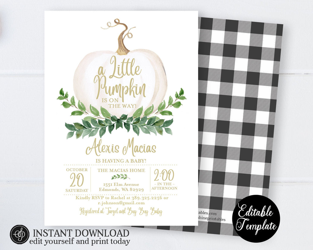 Pumpkin Baby Sprinkle Invitation, Gender Neutral White Pumpkin & Greenery Baby Shower Invite, Fall Baby Shower Invitation, Templett, SP0056A