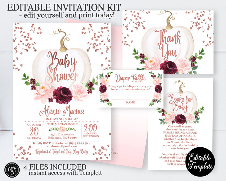 Fall Baby Girl Shower Invitation, White Pumpkin Floral Rose Gold Glitter Baby Shower Invite for Girl, EDITABLE TEMPLATE, SP0056C