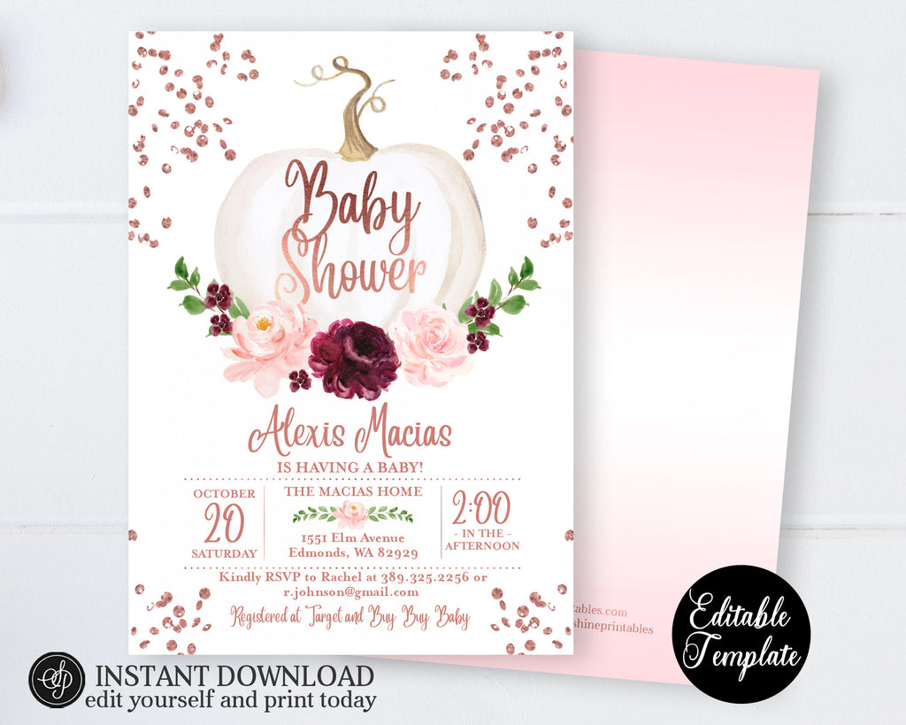 Little Pumpkin Baby Girl Shower Invitation, Fall Baby Shower Invite, Rose Gold Floral White Pumpkin, EDITABLE INVITATION, Templett, SP0056C