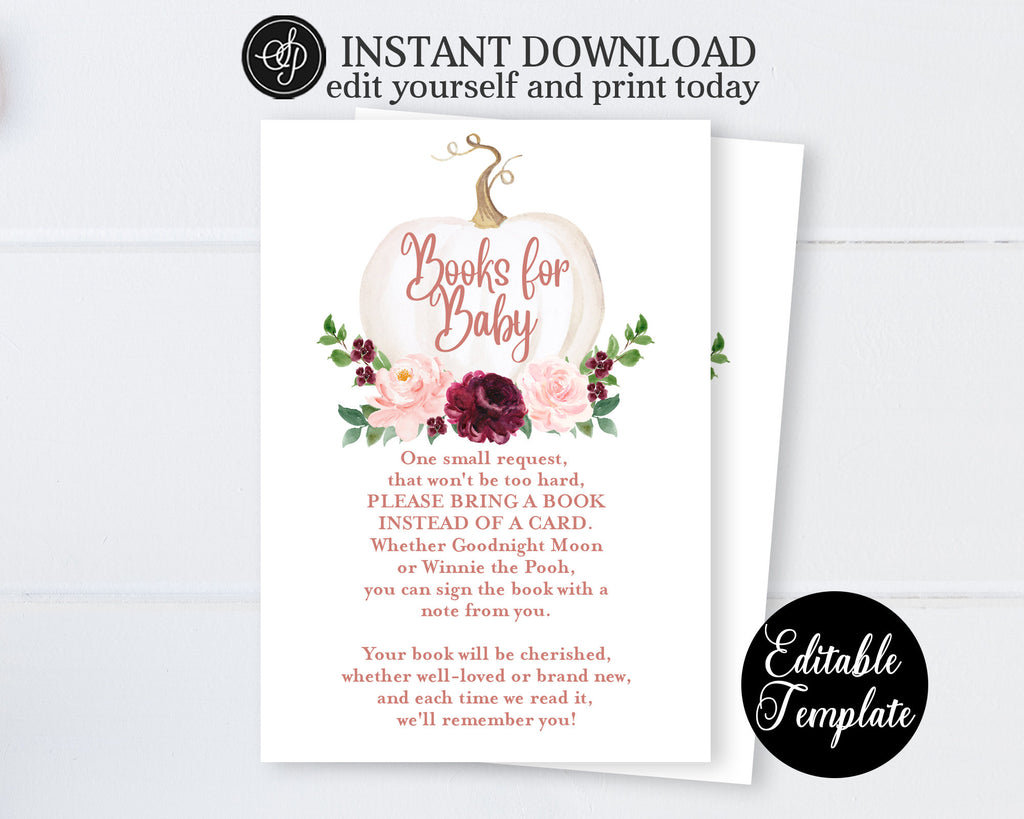 Fall Baby Sprinkle Invitation, Floral Pumpkin Girl Baby Shower Invite, Rose Gold Floral White Pumpkin, EDITABLE, Templett, SP0056C