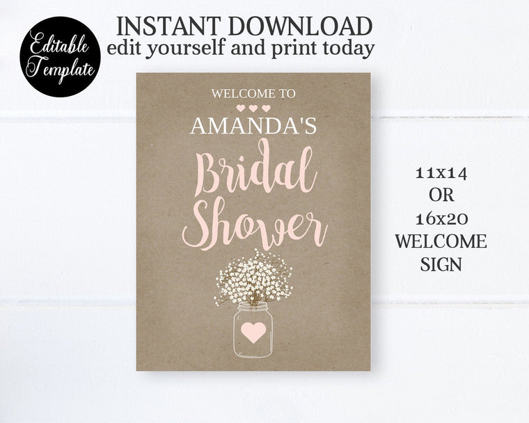 Kraft Bridal Shower Welcome Sign, 11x14, 16x20, Printable Editable Template Templett Bridal Shower Party Sign SP0012
