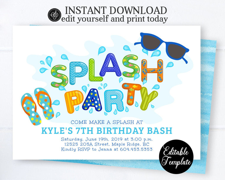 Splash Party Birthday Invitation Boy, Splash Pad Birthday Party Invitation, Printable Summer Party Invite, Instant Download SP0039