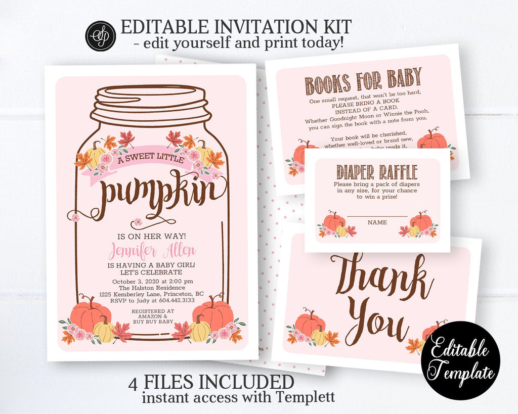 Little Pumpkin Baby Shower Invitation GIRL, Printable Fall Baby Shower Invitation Template, Pumpkin Floral Baby Girl, EDITABLE, SP0053