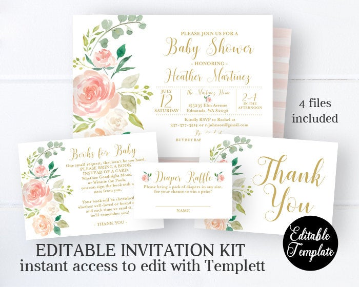 picture about Baby Shower Printable Invitations named EDITABLE Peach Floral Kid Shower Invitation, Printable Invitation, Templett, Peach Floral and Gold, SP0054