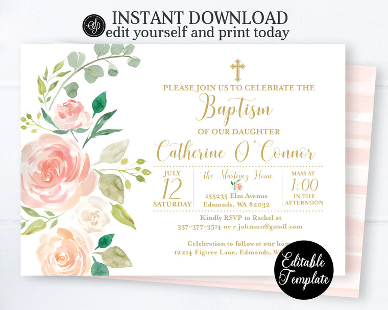 PRINTABLE Peach Floral Baptism Invitation, GIRL Blush Pink and Gold Floral Baptism or Christening Invite, EDITABLE, Templett, SP0054