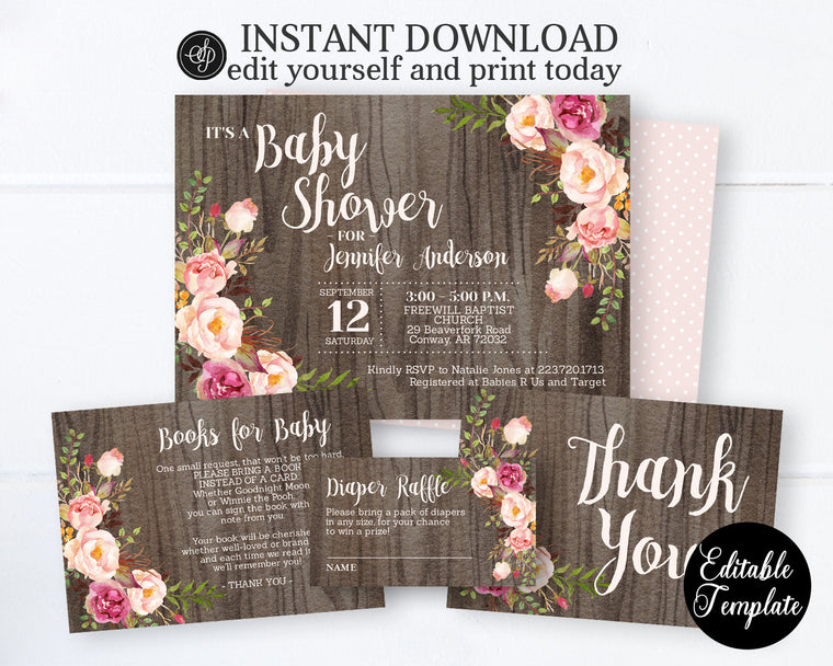 Rustic Boho Floral Baby Girl Shower Invitation KIT, Watercolor Floral Baby Shower Invitation Bundle, Rustic Baby Shower Kit, EDITABLE SP0055