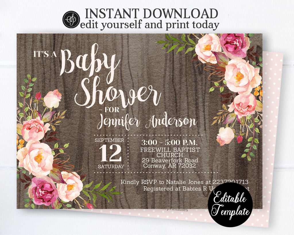 EDITABLE Rustic Baby Girl Shower Invitation, Girl Floral Boho Baby Shower Invite, Printable Invitation Template, Templett, SP0055