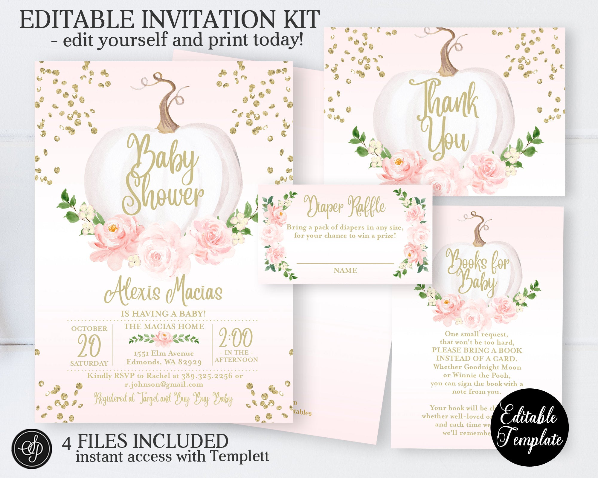 Little Pumpkin Baby Girl Shower Invitation Pink Floral White Pumpkin Sunshine Printables
