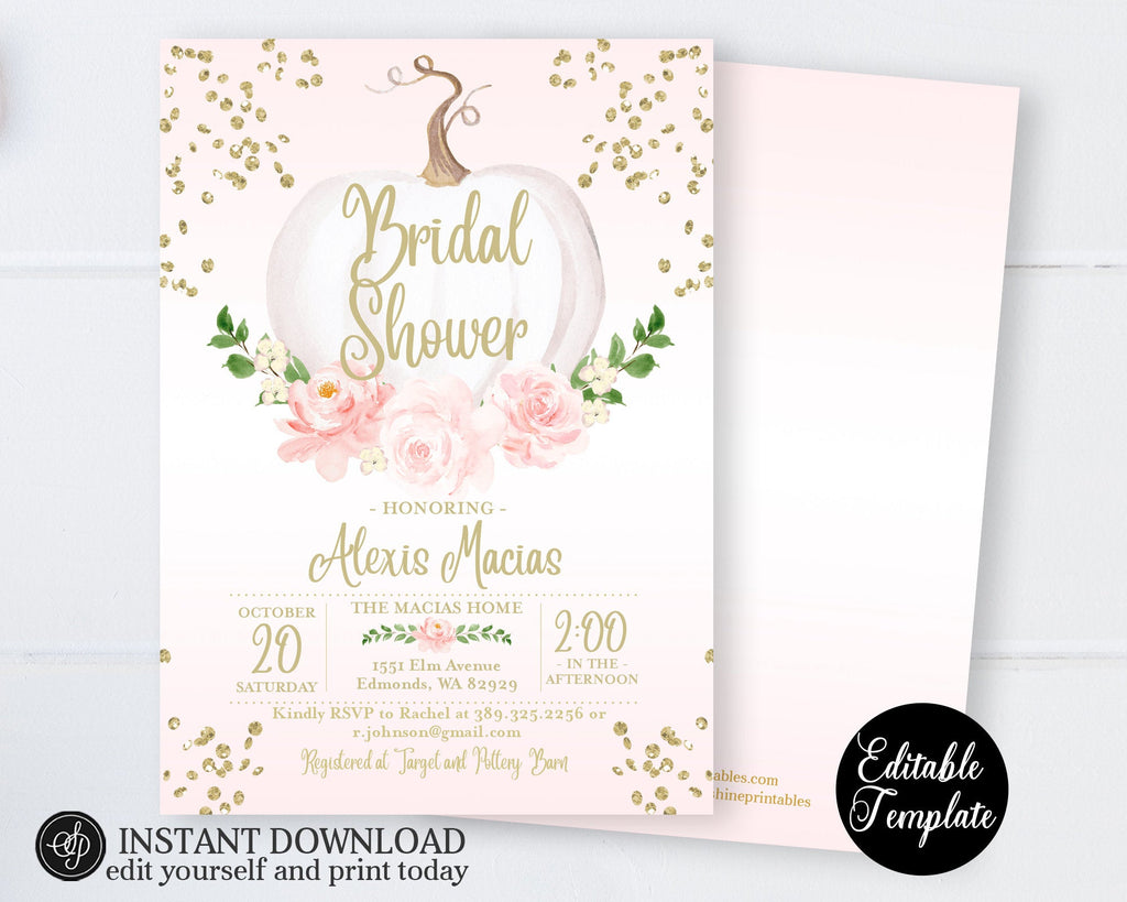 PRINTABLE Fall Bridal Shower Invitation, Pumpkin Floral Pink and Gold Bridal Shower Invite, EDITABLE, Templett, SP0056B