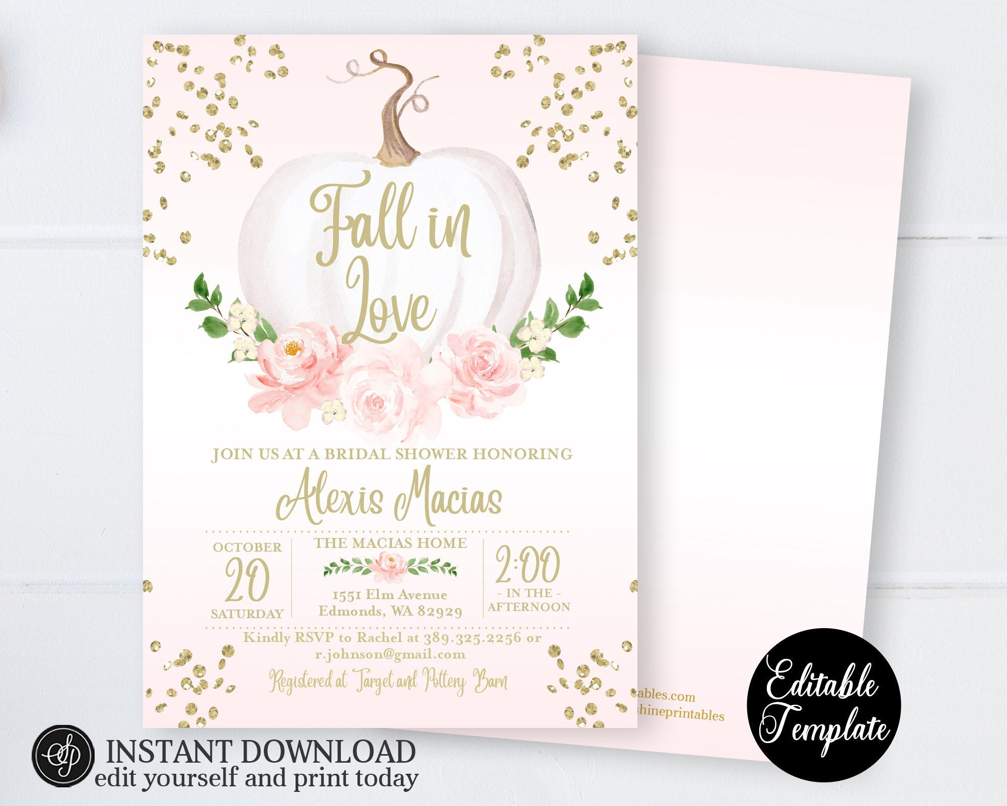 picture regarding Bridal Shower Invitations Printable identified as Drop inside of Enjoy Bridal Shower Invitation, Crimson Floral White Pumpkin Bridal Shower Invite, Printable Invitation, EDITABLE, Templett, SP0056B