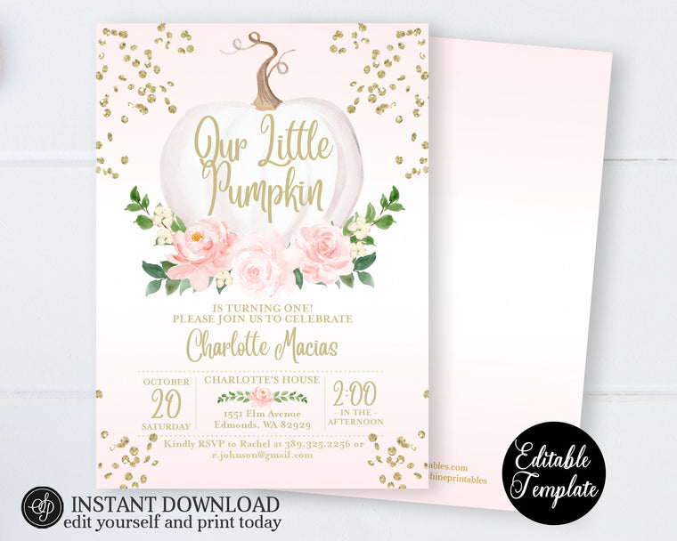 Pink Floral White Pumpkin 1st Birthday Invitation, Fall First Birthday Invitation for Girl, Floral Pumpkin, EDITABLE TEMPLATE, SP0056B