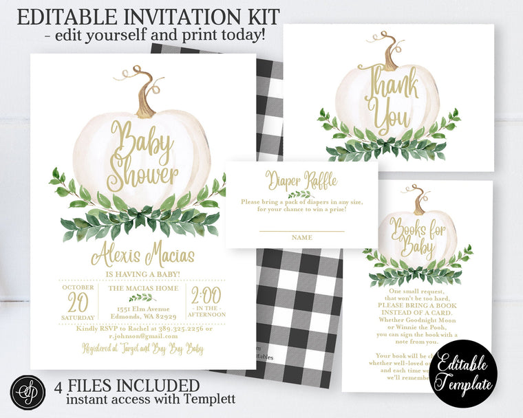 Fall Greenery Pumpkin Baby Shower Invitation KIT, Printable Baby Shower Invite Bundle, Gender Neutral, EDITABLE, Instant Download, SP0056A