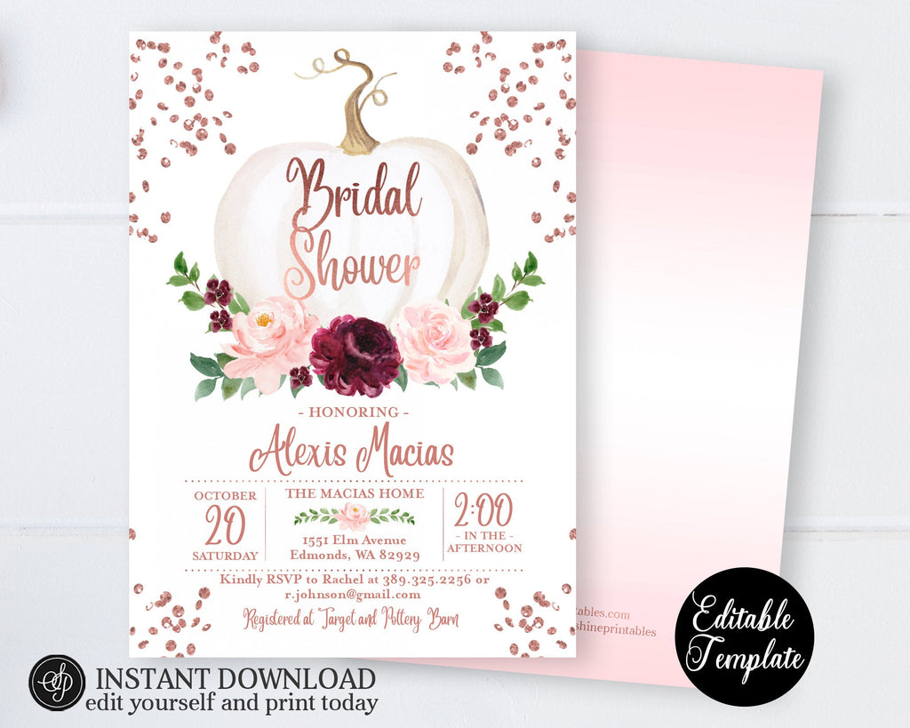 Fall Bridal Shower Invitation, Rose Gold Floral Pumpkin Bridal Shower Invite, Printable Invitation, EDITABLE TEMPLATE with Templett, SP0056C