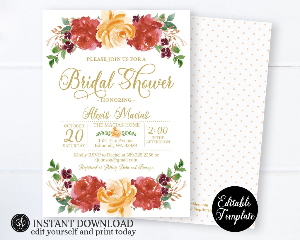 EDITABLE Fall Floral Bridal Shower Invitation, Instant Download Template, Templett Printable Autumn Bridal Shower Invitation, SP0060