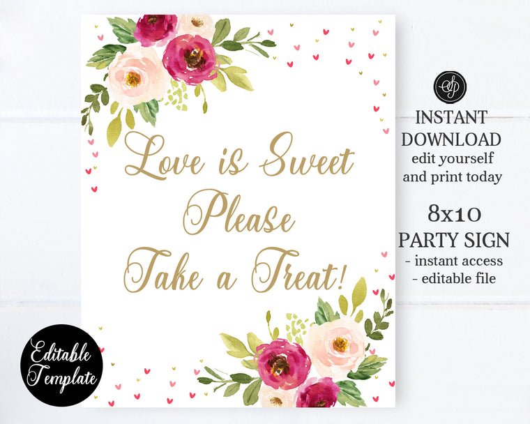 EDITABLE Bridal Shower Sign 8x10, Valentine Shower Sign, Create Your Own Sign, Editable Template, Templett Sign, Sweetheart Shower, SP0031