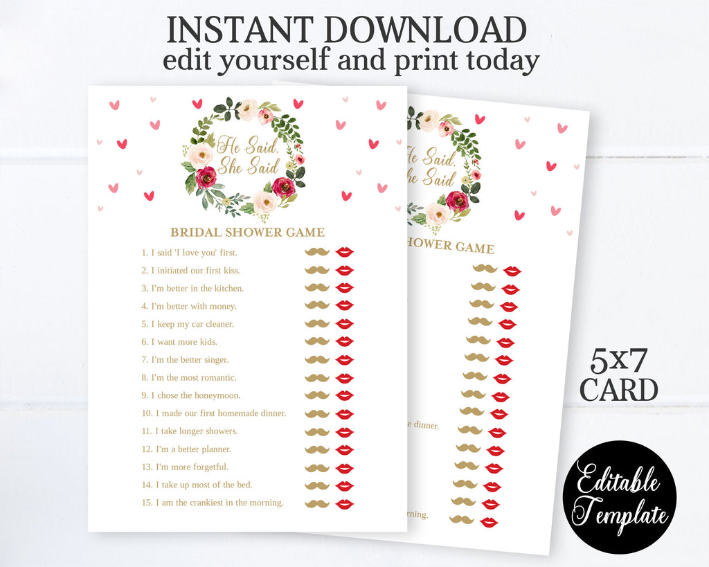 EDITABLE He Said She Said Bridal Shower Game, Floral Valentine Bridal Shower Game, He Said She Said Game Printable, 5x7, SP0031